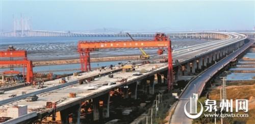 泉州湾跨海大桥 陆域水域全线贯通